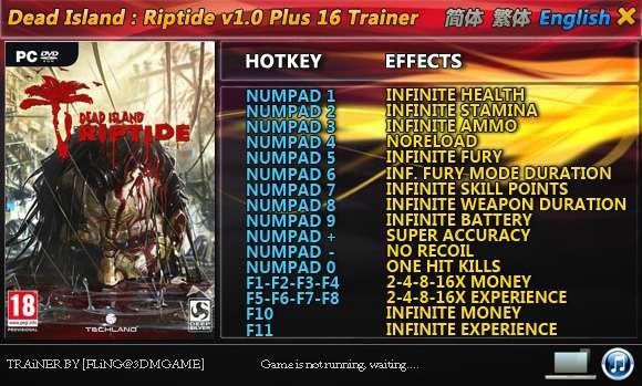 Dead Island: Riptide 1.0 (1.4.0) +16 Trainer [FliNG]