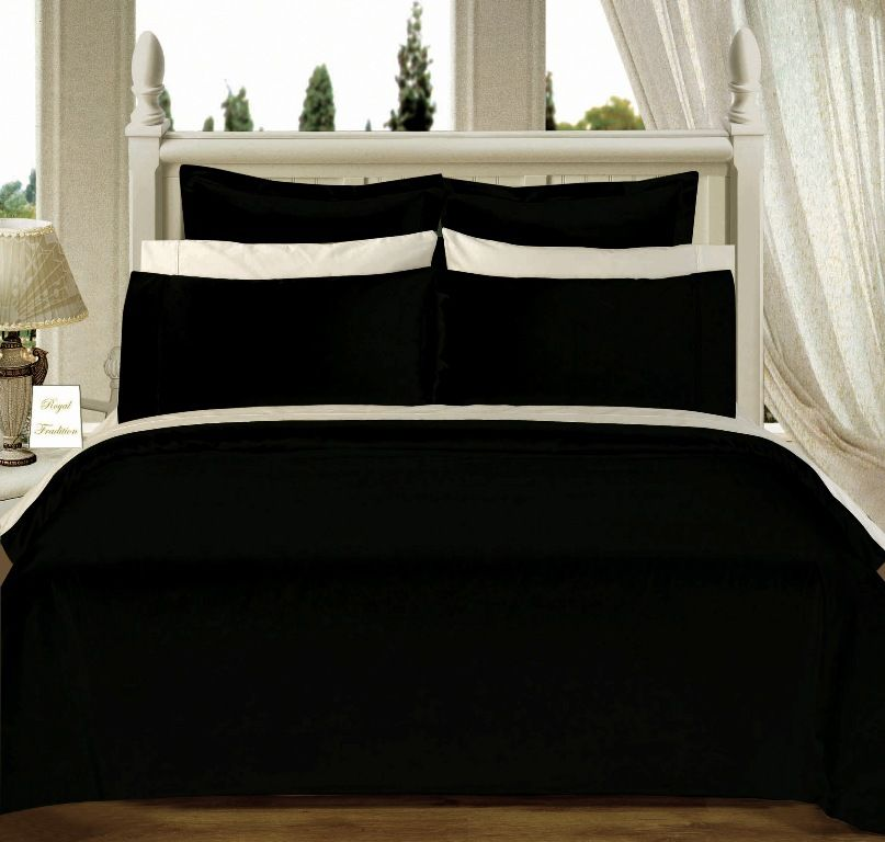 Scotts-sales California-King 8PC Solid BLACK 550TC Egyptian cotton Bed in a Bag