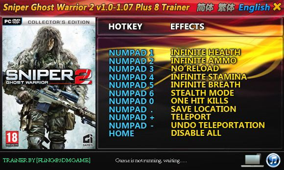 Sniper: Ghost Warrior 2 1.0-1.07 +8 Trainer [FliNG]