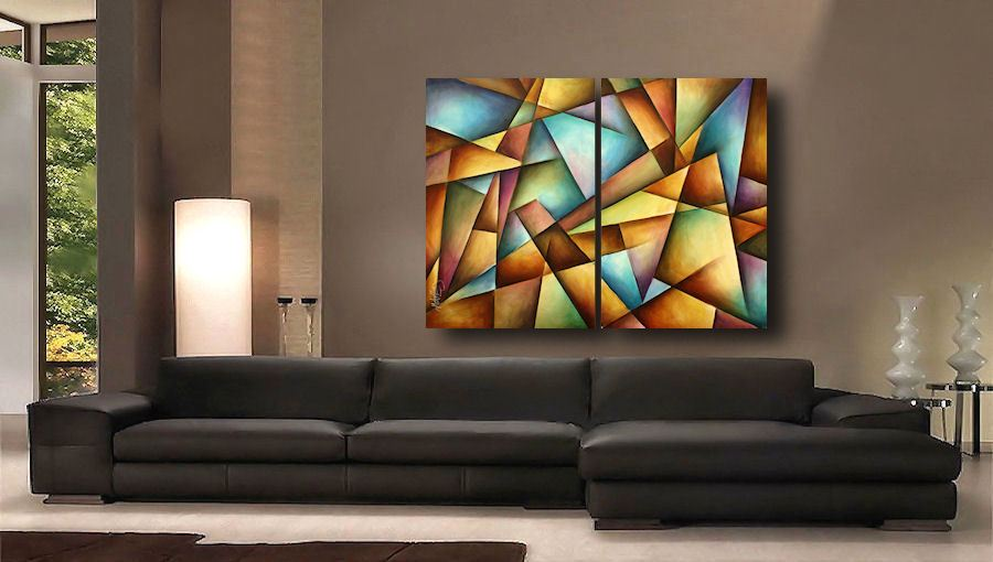 A Two Piece Canvas Original Painting Measuring 36 High By 49 Wide Professional Quality Materials Were Used In The Creation Of This Art