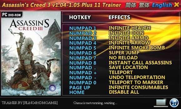 Assassin's Creed III 1.04-1.05 +11 Trainer [FliNG]