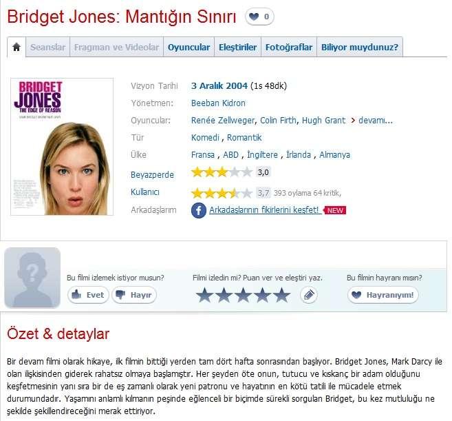 Bridget Jones Mantığın Sınırı - 2004 BRRip XviD AC3 - Türkçe Dublaj Tek Link indir